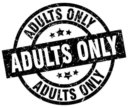 adults only round grunge black stamp Illustration