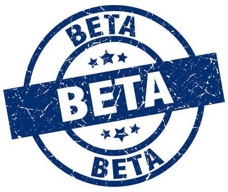 beta blue round grunge stamp