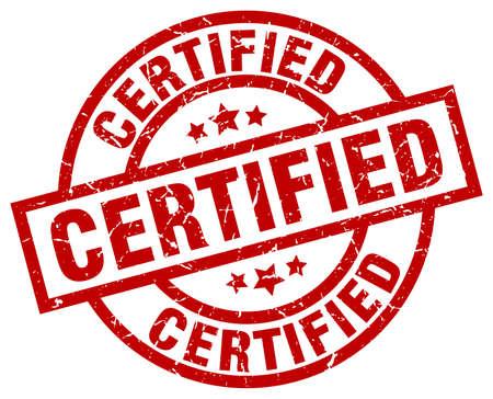 certified round red grunge stamp Illustration