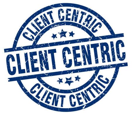 client centric blue round grunge stamp Ilustração