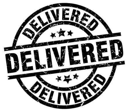 delivered: delivered round grunge black stamp