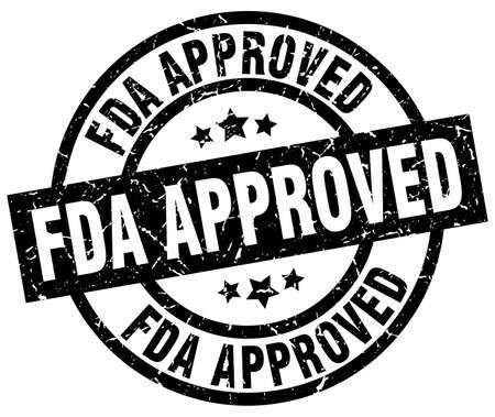fda 承認されたラウンド グランジ ブラック スタンプ  イラスト・ベクター素材