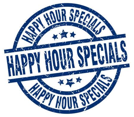 specials: happy hour specials blue round grunge stamp