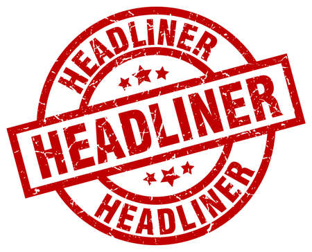 headliner: headliner round red grunge stamp