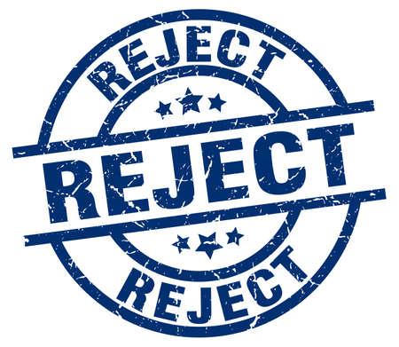 reject blue round grunge stamp