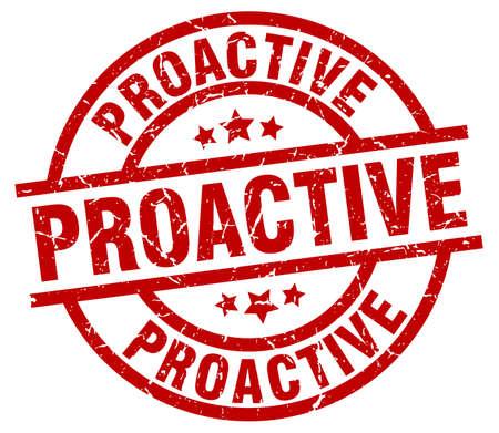 Proactive round red grunge stamp Illustration