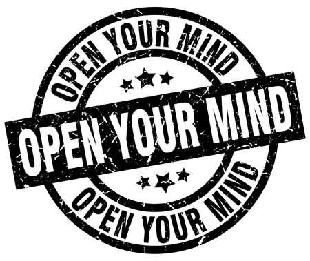 Abra su mente ronda grunge negro sello