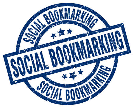 bookmarking: Social bookmarking blue round grunge stamp Illustration