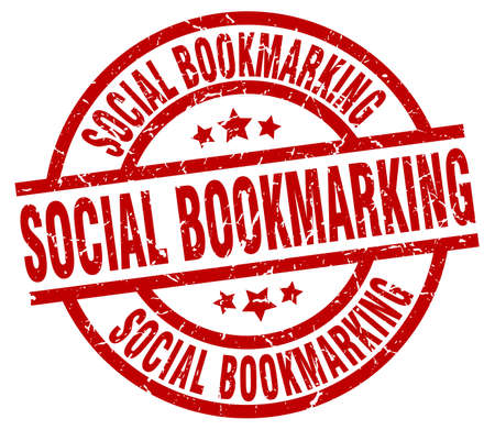bookmarking: Social bookmarking round red grunge stamp