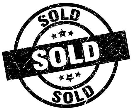Sold round grunge black stamp