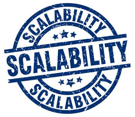 scalability blue round grunge stamp