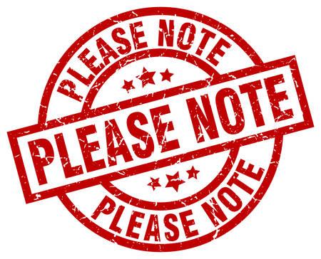 Please note round red grunge stamp