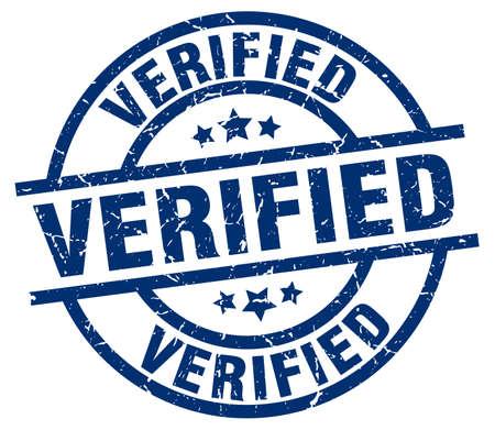 Verified blue round grunge stamp Banco de Imagens - 76634984