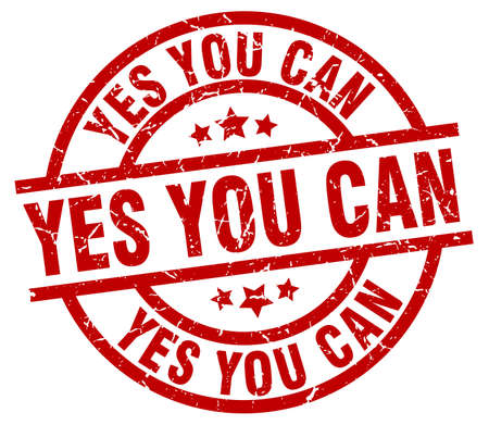 can yes you can: yes you can round red grunge stamp