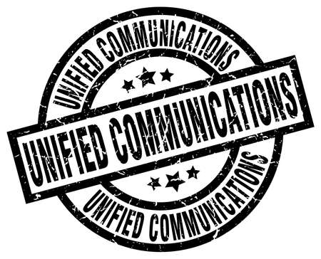 Unified communications round grunge black stamp.