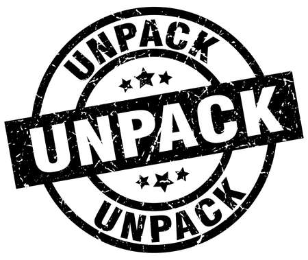 to unpack: Unpack round grunge black stamp