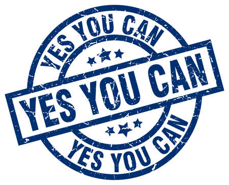 can yes you can: yes you can blue round grunge stamp Illustration