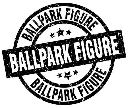 ballpark: ballpark figure round grunge black stamp Illustration