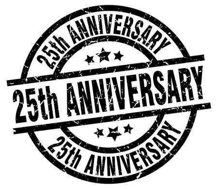 25th: 25th anniversary round grunge black stamp Illustration