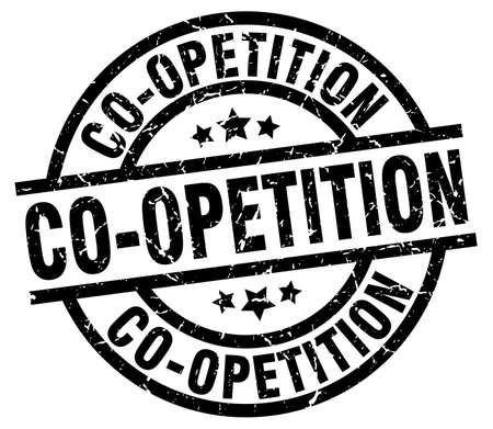 co operation: co-opetition round grunge black stamp