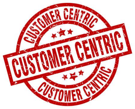 Customer centric round red grunge stamp Ilustração