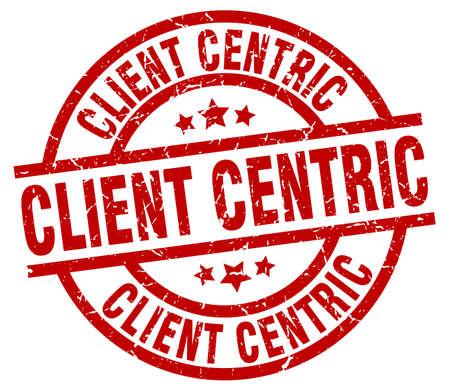 client centric round red grunge stamp