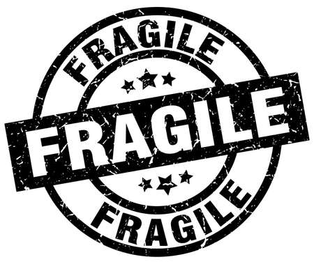 fragile round grunge black stamp