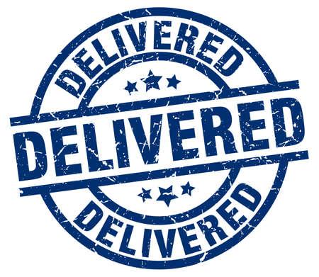 delivered: delivered blue round grunge stamp Illustration