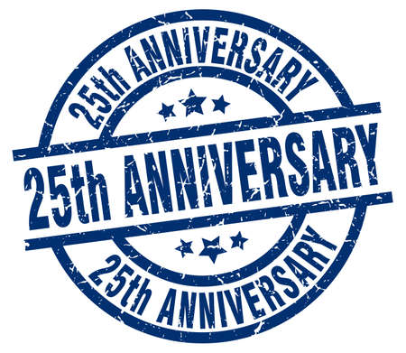 25th: 25th anniversary blue round grunge stamp Illustration