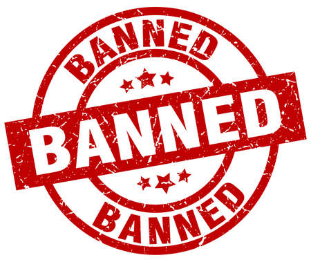 banned: Banned round red grunge stamp