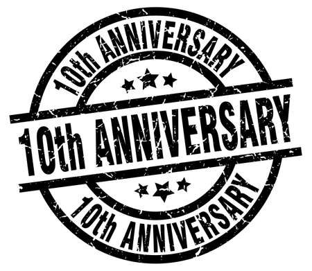 10th anniversary round grunge black stamp