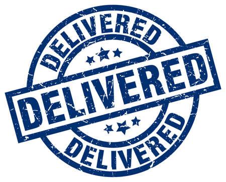 delivered: Delivered blue round grunge stamp
