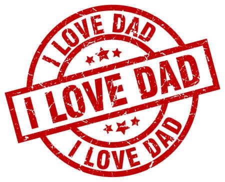 I love dad round red grunge stamp