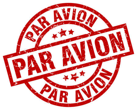 avion: Par avion round red grunge stamp