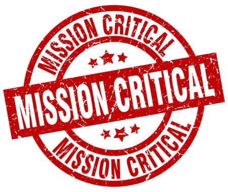 Mission critical round red grunge stamp 일러스트