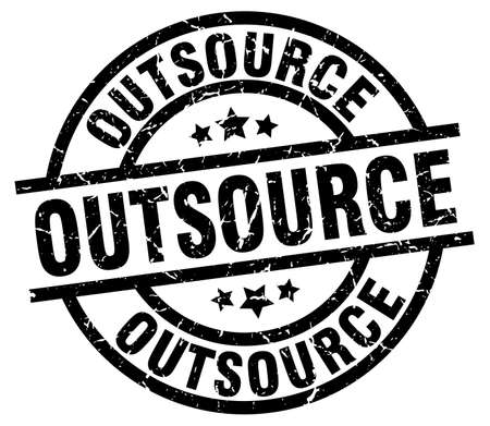 outsource: Outsource round grunge black stamp