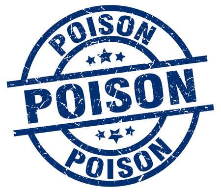 poison: Poison blue round grunge stamp Illustration