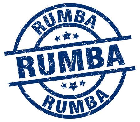 Rumba blue round grunge stamp Illustration