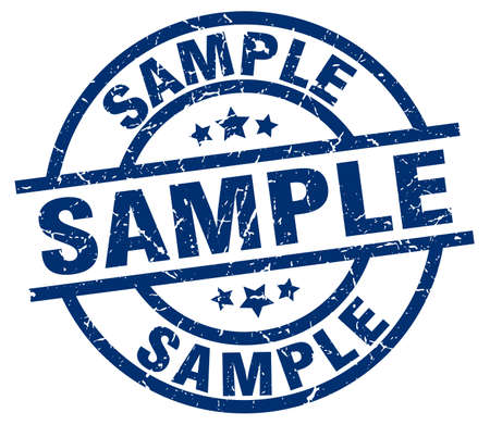 Sample blue round grunge stamp