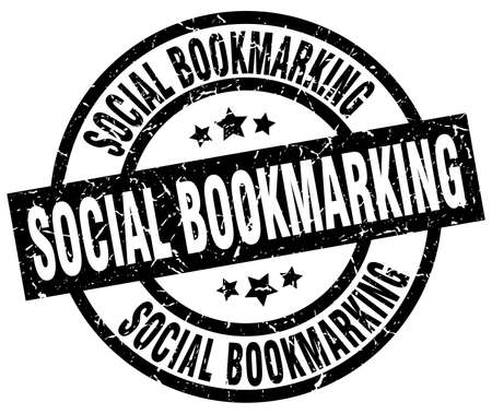 bookmarking: Social bookmarking round grunge black stamp