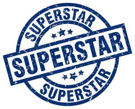 superstar: Superstar blue round grunge stamp