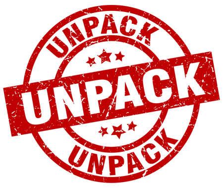to unpack: Unpack round red grunge stamp Illustration