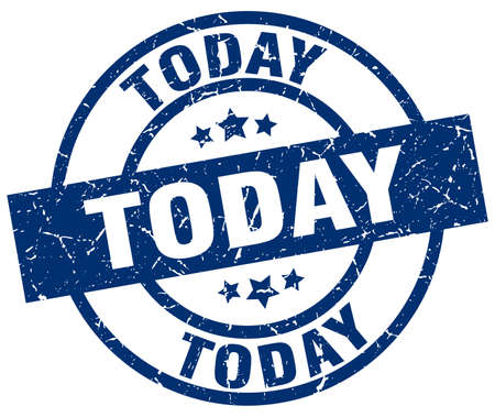 Sello grunge redondo azul de hoy Foto de archivo - 76556376