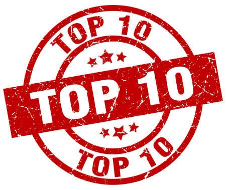 Top 10 round red grunge stamp