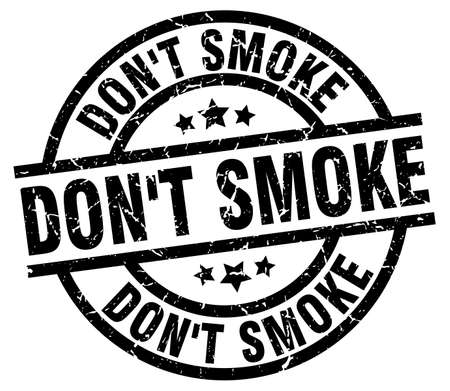 Dont smoke round grunge black stamp