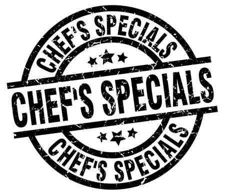 specials: chefs specials round grunge black stamp Illustration