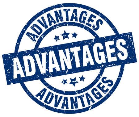 advantages: advantages blue round grunge stamp Illustration