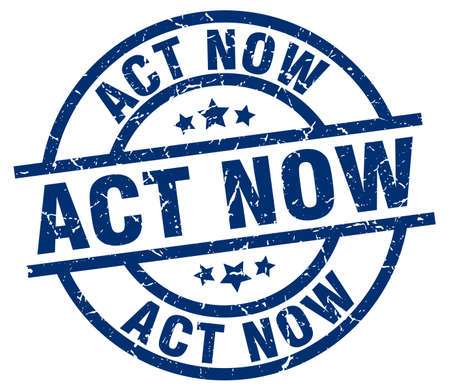 act now blue round grunge stamp Ilustrace