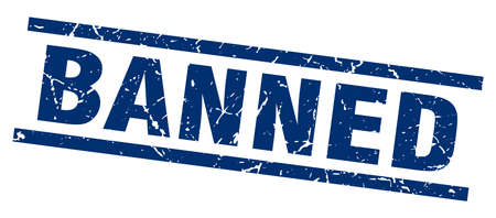 banned: square grunge blue banned stamp