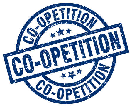 co operation: Co-opetition blue round grunge stamp